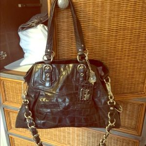 Black leather coach bag, used in good condition